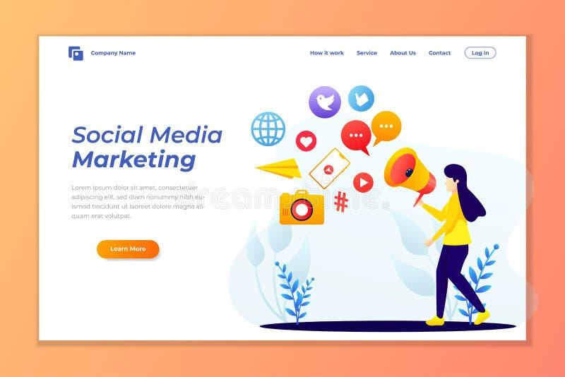 Προσγειωμένος πρότυπο σελίδων του κοινωνικού μάρκετινγκ μέσων Σύγχρονη επίπεδη έννοια σχεδίου του σχεδίου ιστοσελίδας διανυσματική απεικόνιση