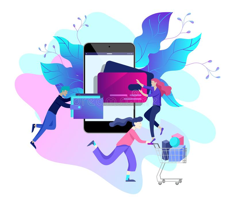 Προσγειωμένος πρότυπο σελίδων on-line να ψωνίσει Σύγχρονη επίπεδη έννοια σχεδίου ιστοσελίδας ελεύθερη απεικόνιση δικαιώματος