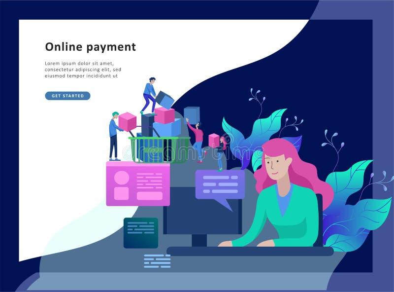 Προσγειωμένος πρότυπο σελίδων on-line να ψωνίσει Σύγχρονη επίπεδη έννοια σχεδίου ιστοσελίδας απεικόνιση αποθεμάτων