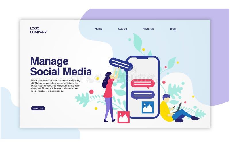 Προσγειωμένος πρότυπο σελίδων Manage των κοινωνικών μέσων διανυσματική απεικόνιση