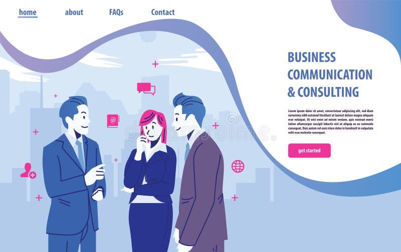 Προσγειωμένος πρότυπο σχεδίου ιστοσελίδας για τη επιχειρησιακή επικοινωνία, on-line συμβουλευτικός, χρονική διαχείριση, χτίσιμο ο διανυσματική απεικόνιση