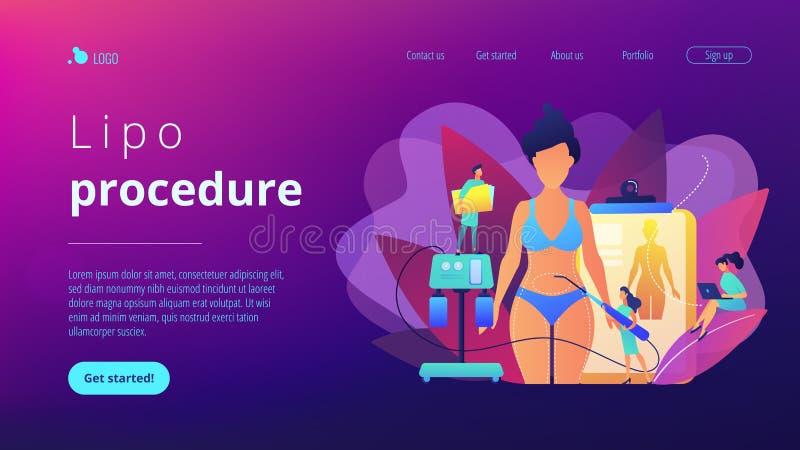 Προσγειωμένος σελίδα έννοιας Liposuction διανυσματική απεικόνιση