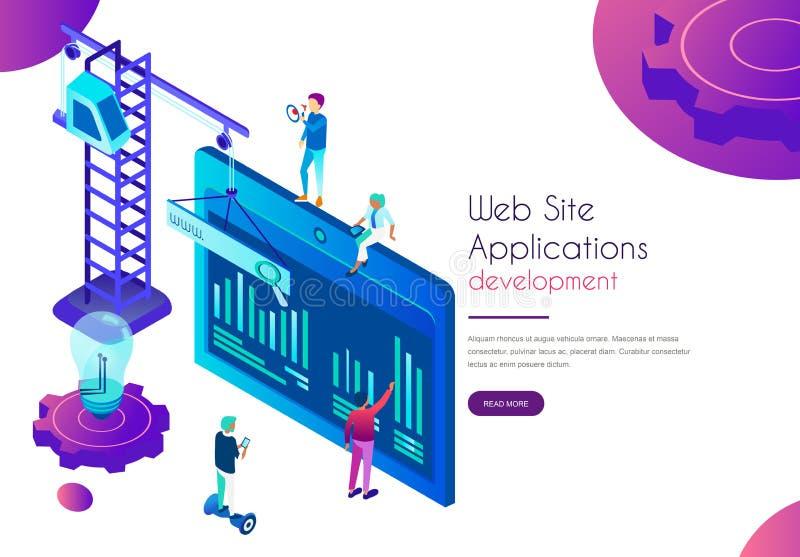 Προσγειωμένος σελίδα ανάπτυξης εφαρμογών ιστοχώρου Πρότυπο των ανθρώπων με τις δημιουργικές ιδέες που λειτουργούν στο isometric δ απεικόνιση αποθεμάτων