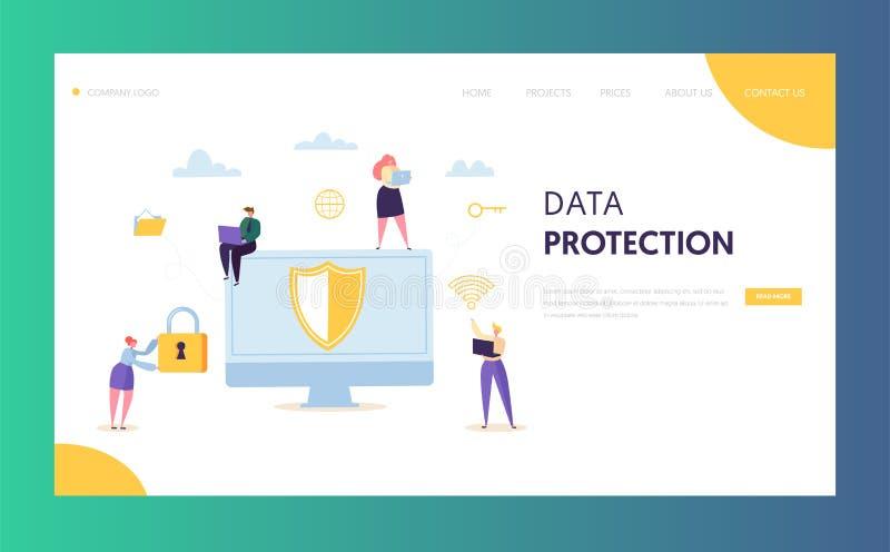Προσγειωμένος σελίδα δικτύων ασφάλειας στοιχείων Διαδικτύου Ψηφιακή κρυπτογράφηση ιδιωτικότητας κεντρικών υπολογιστών εικονιδίων  διανυσματική απεικόνιση