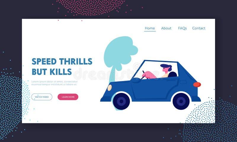 Προσγειωμένος σελίδα ιστοχώρου κυκλοφορίας πόλεων, άτομο που το μπλε αυτοκίνητο στην πίστα αγώνων, μεταφορά, αρσενικός χαρακτήρας απεικόνιση αποθεμάτων