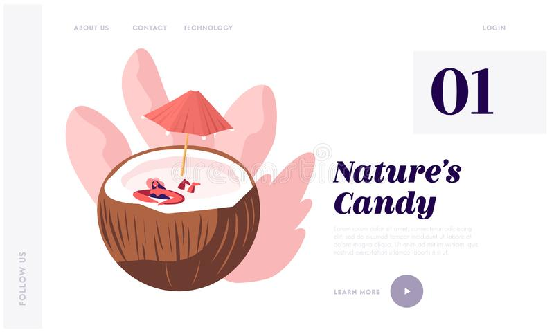 Προσγειωμένος σελίδα ιστοχώρου φυσικών προϊόντων, γυναίκα στη χαλάρωση θερινών καπέλων στην τεράστια καρύδα με την ομπρέλα όπως σ ελεύθερη απεικόνιση δικαιώματος