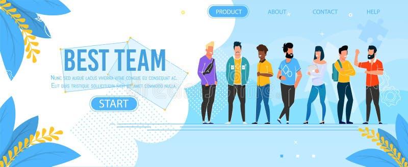 Προσγειωμένος σελίδα που παρουσιάζει την καλύτερη ομάδα επιχειρηματικής μονάδας διανυσματική απεικόνιση