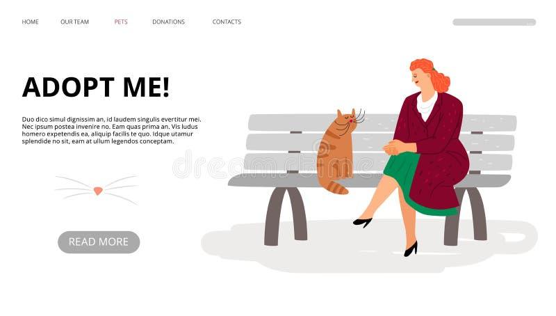 Προσγειωμένος σελίδα υιοθέτησης κατοικίδιων ζώων Με υιοθετήστε έμβλημα Ιστού Η διανυσματικές γυναίκα και η γάτα κινούμενων σχεδίω διανυσματική απεικόνιση