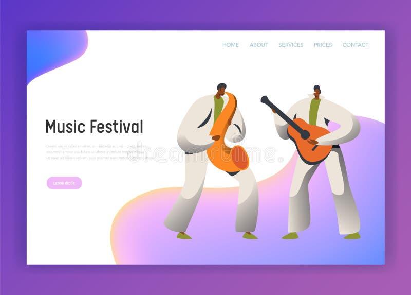 Προσγειωμένος σελίδα χαρακτήρα ατόμων Saxophone φεστιβάλ μουσικής Αρσενική κιθάρα παιχνιδιού στο κλασικό κοστούμι στο φεστιβάλ Ρί διανυσματική απεικόνιση