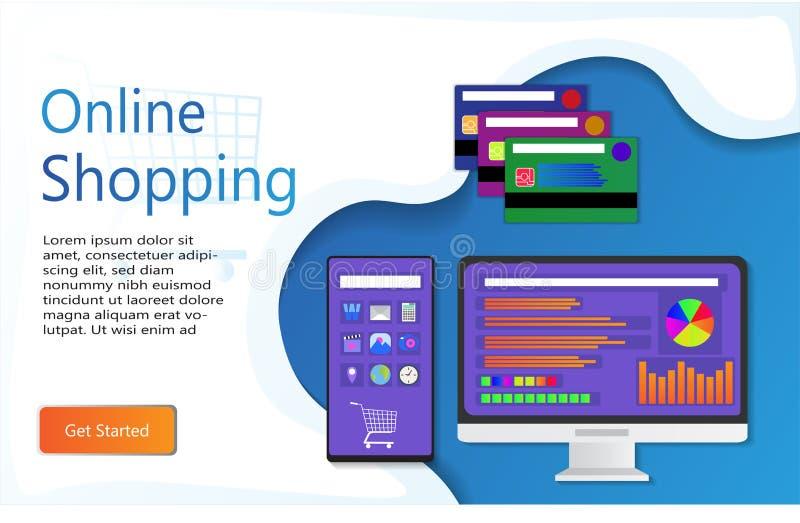 Προσγειωμένος σελίδα on-line αγορών απεικόνιση αποθεμάτων