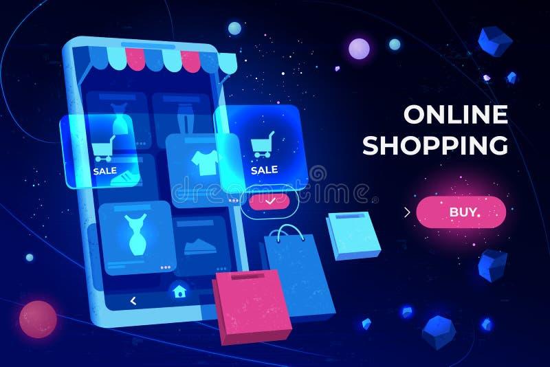Προσγειωμένος σελίδα on-line αγορών, οθόνη smartphone απεικόνιση αποθεμάτων