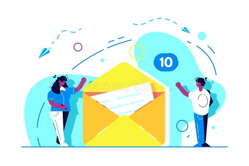 Προσγειωμένος σελίδα Send της έννοιας μηνυμάτων απεικόνιση αποθεμάτων