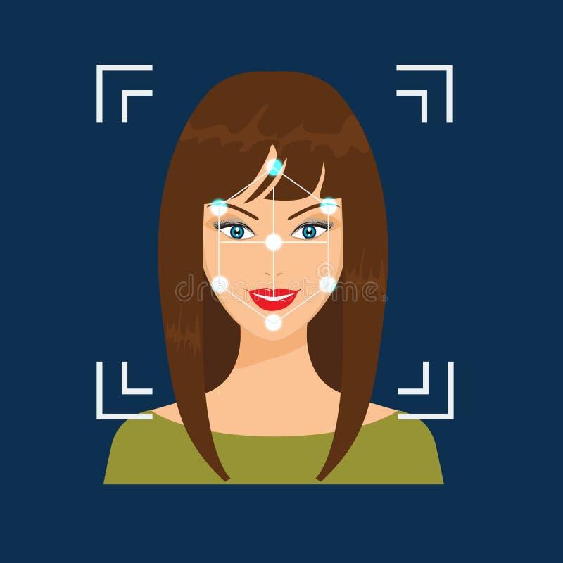 Προσδιορισμός Biometrical Του προσώπου έννοια συστημάτων αναγνώρισης διανυσματική απεικόνιση