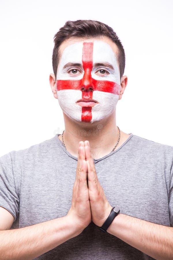 Προσεηθείτε για την Αγγλία Ο οπαδός ποδοσφαίρου Άγγλου προσεύχεται για τη εθνική ομάδα της Αγγλίας παιχνιδιών στοκ εικόνα με δικαίωμα ελεύθερης χρήσης