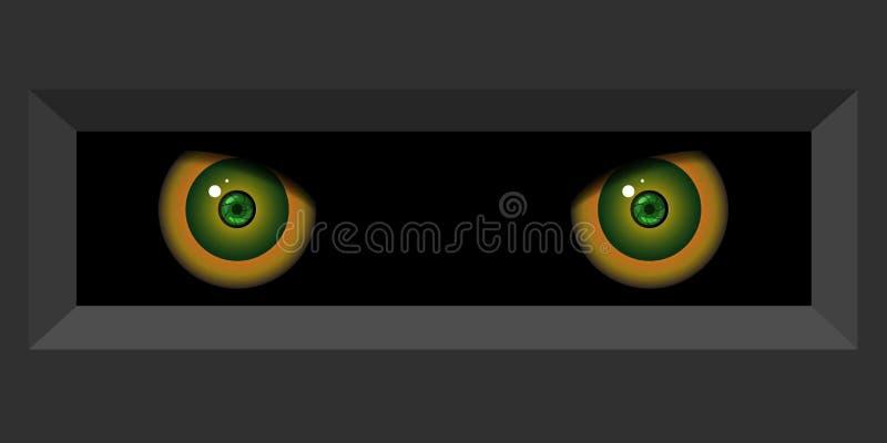 Προσεκτικά, διαπεραστικοα μάτια Μόνιμοι έλεγχος και προσοχή διανυσματική απεικόνιση