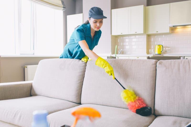 Προσεκτικές και συγκεντρωμένες καθαρότερες εργασίες στο διαμέρισμα Χρησιμοποιεί τη βούρτσα σκόνης στον καναπέ Το κορίτσι καθαρίζε στοκ φωτογραφίες
