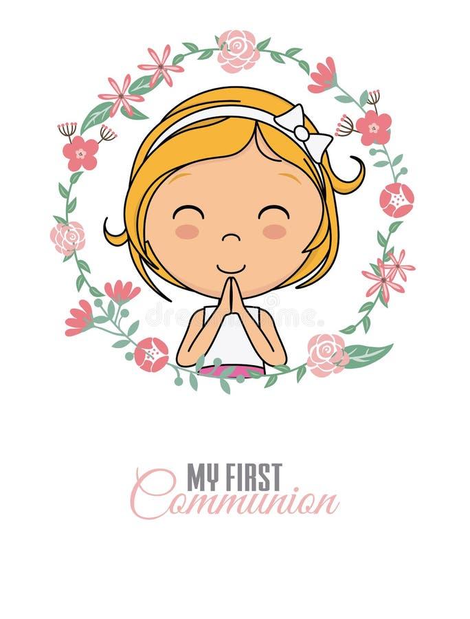Προσευμένος κορίτσι μέσα σε ένα πλαίσιο λουλουδιών απεικόνιση αποθεμάτων