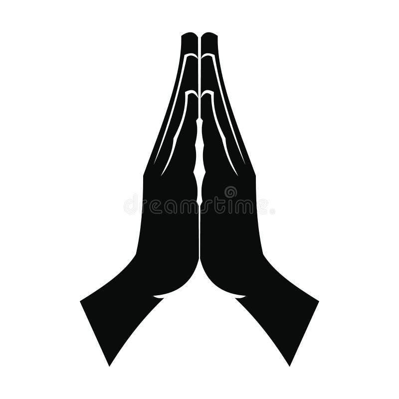 Προσευμένος μαύρο απλό εικονίδιο χεριών διανυσματική απεικόνιση