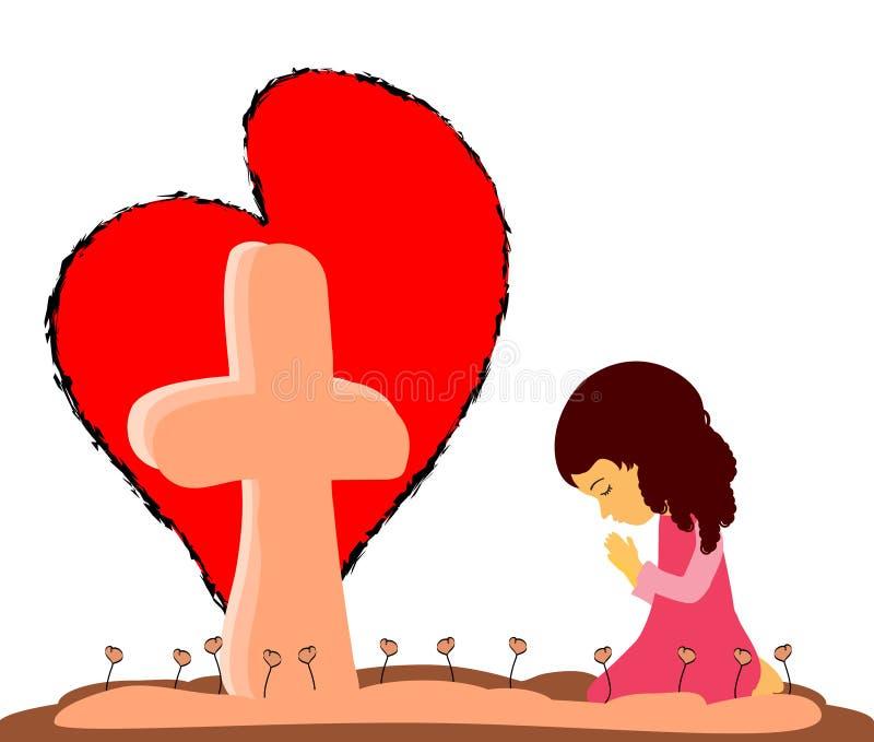 Προσευχή στο σταυρό απεικόνιση αποθεμάτων