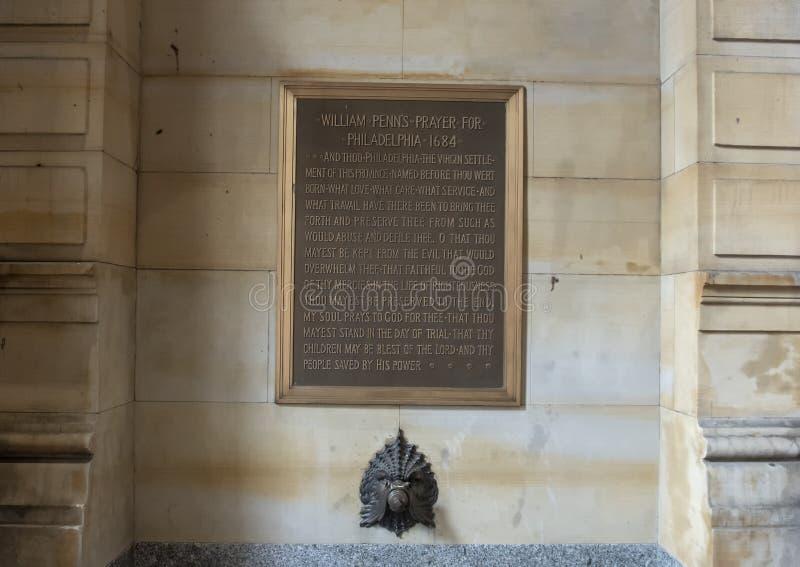 Προσευχή του William Penn ` s για τη Φιλαδέλφεια, 1684 στοκ εικόνες