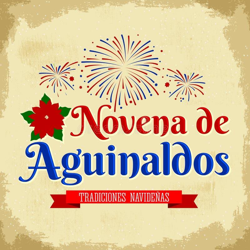 Προσευχή των επιδομάτων Χριστουγέννων - ισπανική μετάφραση: Ένατο των επιδομάτων, είναι μια καθολική παράδοση Χριστουγέννων στην  διανυσματική απεικόνιση