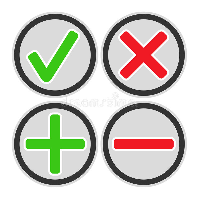 Προσθέστε, διαγράψτε, διασχίστε & ελέγξτε τα εικονίδια σημαδιών ελεύθερη απεικόνιση δικαιώματος
