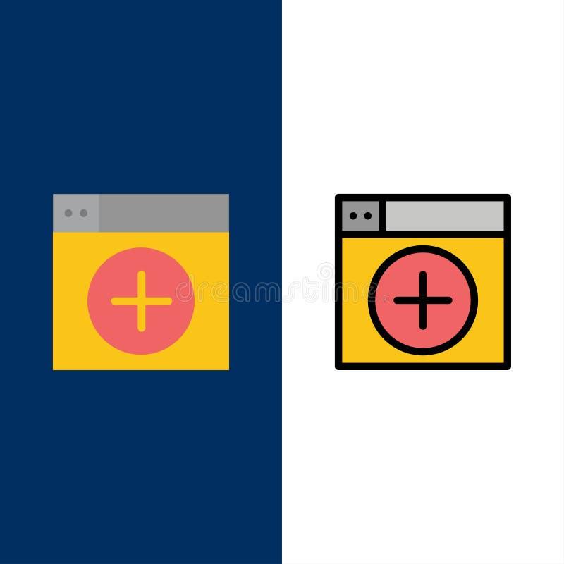 Προσθέστε, παράθυρο, νέο, γραφική παράσταση, App εικονίδια Επίπεδος και γραμμή γέμισε το καθορισμένο διανυσματικό μπλε υπόβαθρο ε ελεύθερη απεικόνιση δικαιώματος