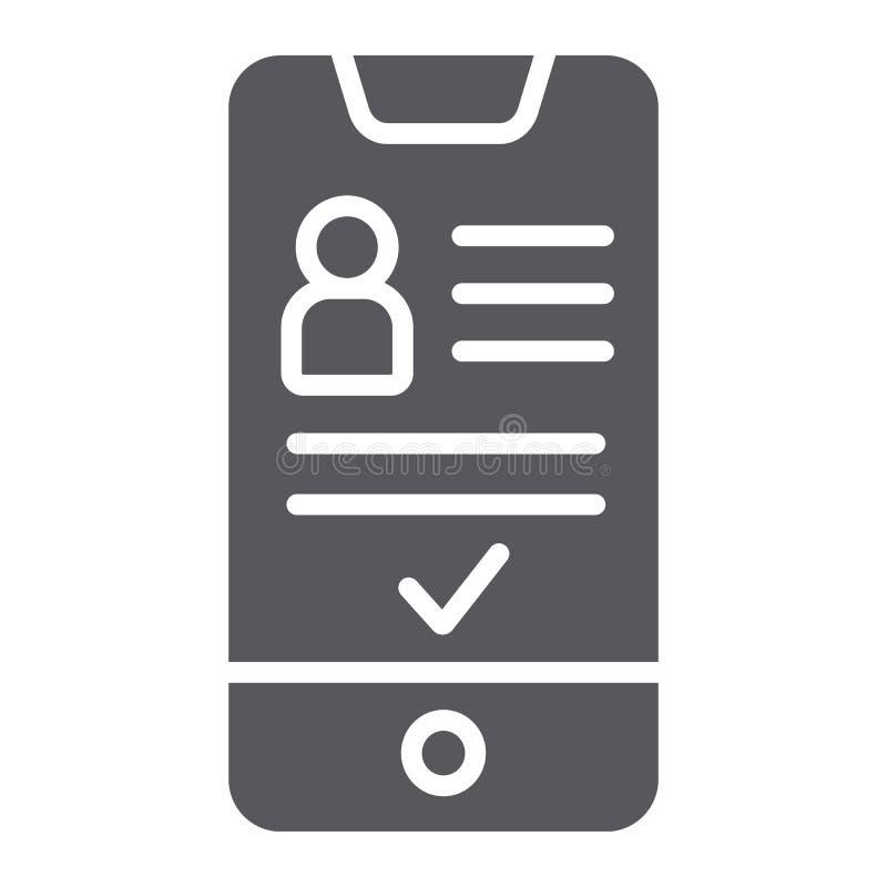 Προσθέστε το φίλο στο εικονίδιο smartphone glyph, το τηλέφωνο και το χρήστη, κοινωνικό σημάδι απολογισμού, διανυσματική γραφική π διανυσματική απεικόνιση