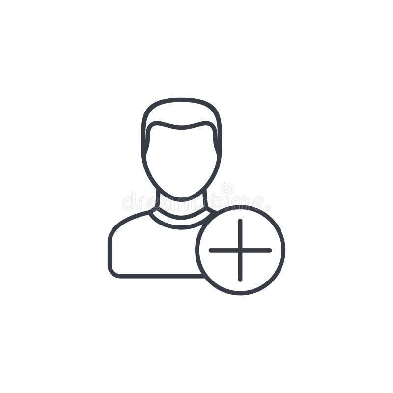 Προσθέστε το χρήστη, το νέο φίλο, το μέλος και το σημείο συν, λεπτό εικονίδιο γραμμών Γραμμικό διανυσματικό σύμβολο διανυσματική απεικόνιση