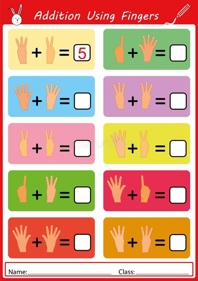 Προσθήκη που χρησιμοποιεί τα δάχτυλα, math φύλλο εργασίας για τα παιδιά διανυσματική απεικόνιση