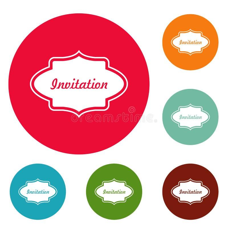 Προσκαλέστε το σύνολο κύκλων εικονιδίων ετικετών απεικόνιση αποθεμάτων