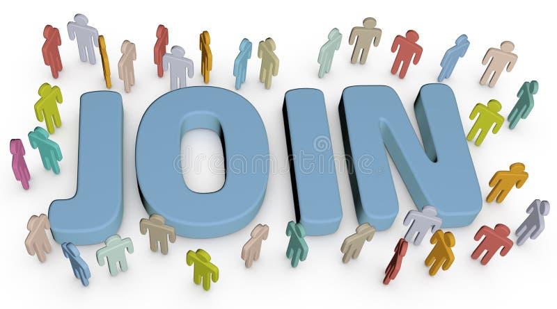 Προσκαλέστε τους ανθρώπους για να ενώσετε την κοινωνική επιχειρησιακή περιοχή διανυσματική απεικόνιση