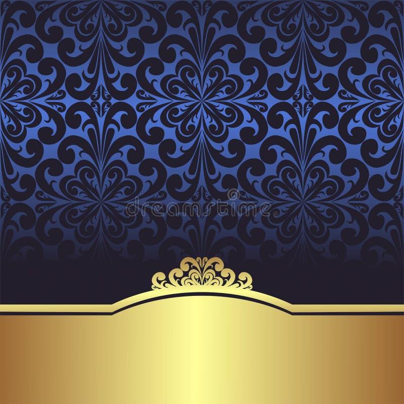 Προσκαλέστε το σχέδιο: μπλε διακοσμητικό υπόβαθρο με τα χρυσά σύνορα ελεύθερη απεικόνιση δικαιώματος
