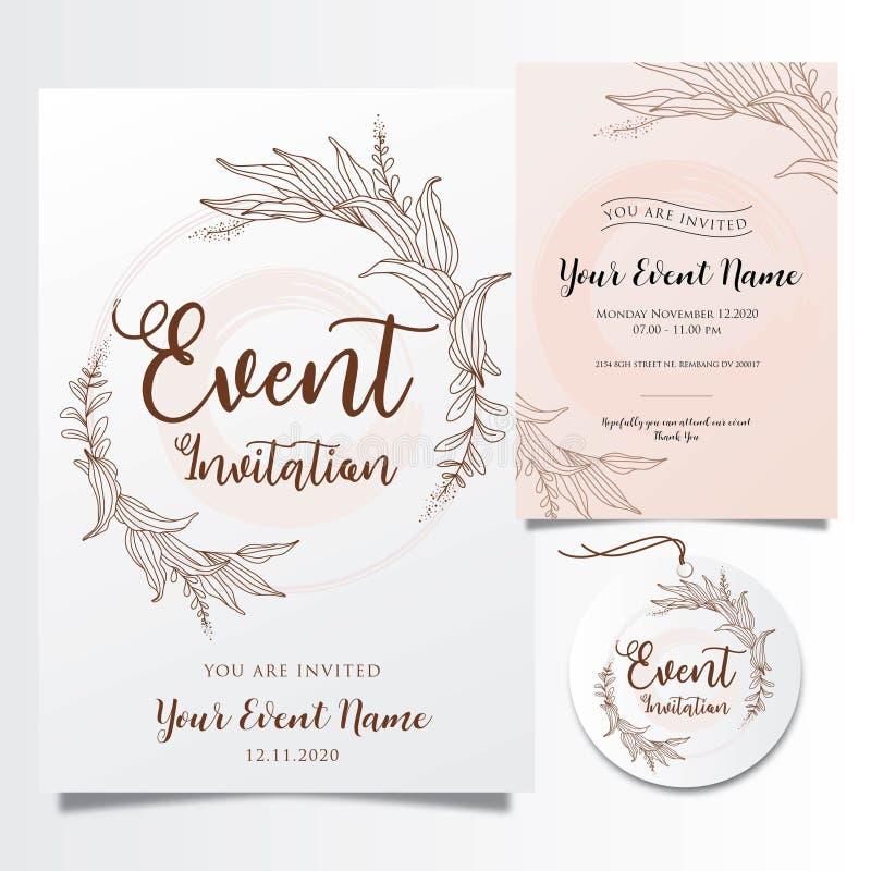 Προσκλήσεις γεγονότος Editable με τις κομψές κομψές γραμμές λουλουδιών διανυσματική απεικόνιση