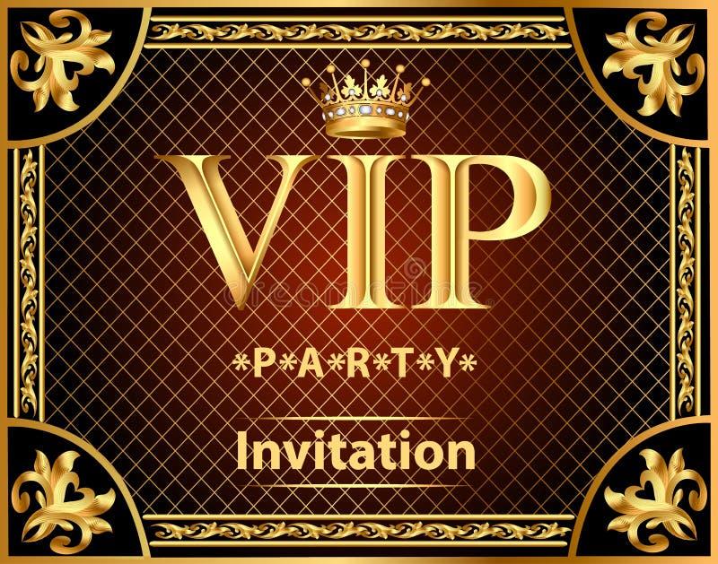 προσκλήσεις σχεδίου στο χρυσό VIP κομμάτων διανυσματική απεικόνιση