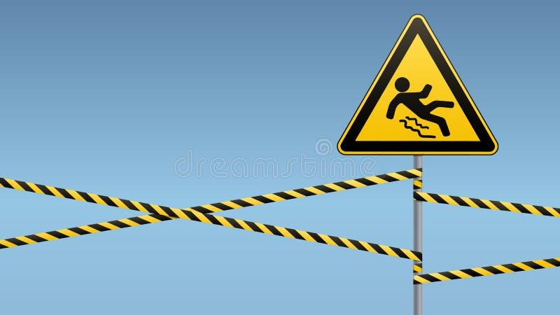 Προσοχή - κίνδυνος Beware ολισθηρού Σήμανση ασφάλειας Το τριγωνικό σημάδι σε έναν πόλο μετάλλων με τις ζώνες προειδοποίησης σχέδι ελεύθερη απεικόνιση δικαιώματος