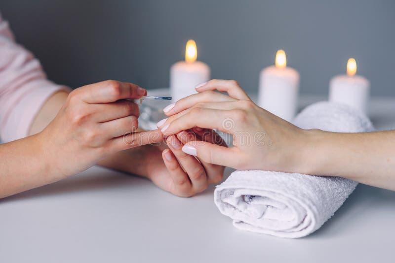 Προσοχή και μανικιούρ καρφιών E Καρφιά του πελάτη χρωμάτων χεριών μανικιουριστών στοκ εικόνες με δικαίωμα ελεύθερης χρήσης
