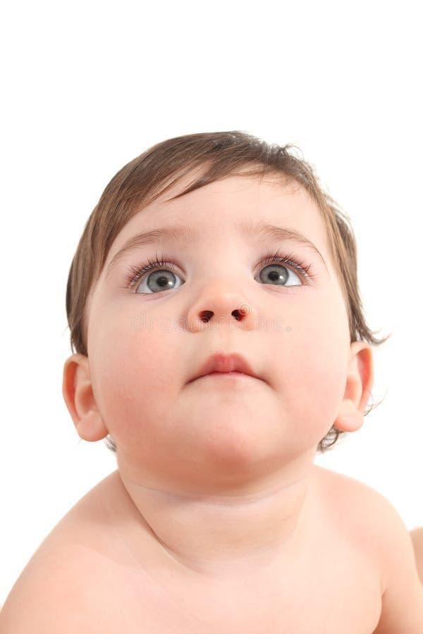 Προσοχή μωρών προσεκτική με μεγάλα μπλε μάτια στοκ φωτογραφία με δικαίωμα ελεύθερης χρήσης