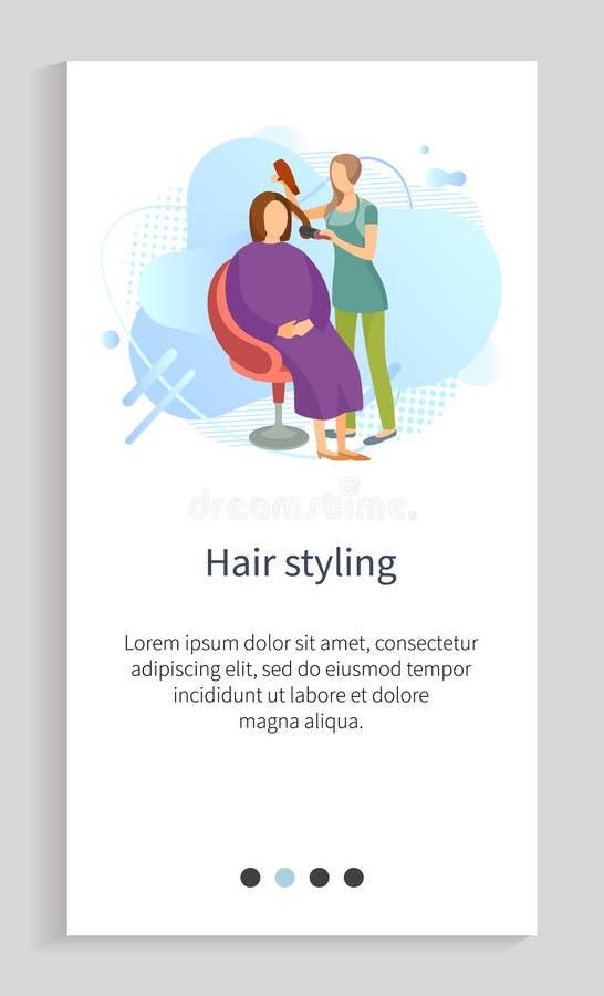 Προσοχή ομορφιάς, Hairstyle στη γυναίκα, διάνυσμα σαλονιών απεικόνιση αποθεμάτων