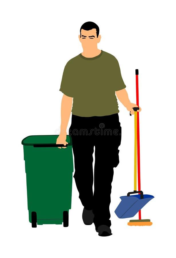 Προσοχή πατωμάτων και καθαρίζοντας υπηρεσίες με τη σφουγγαρίστρα πλύσης στο αποστειρωμένο εργοστάσιο ή το καθαρό νοσοκομείο Καθαρ διανυσματική απεικόνιση