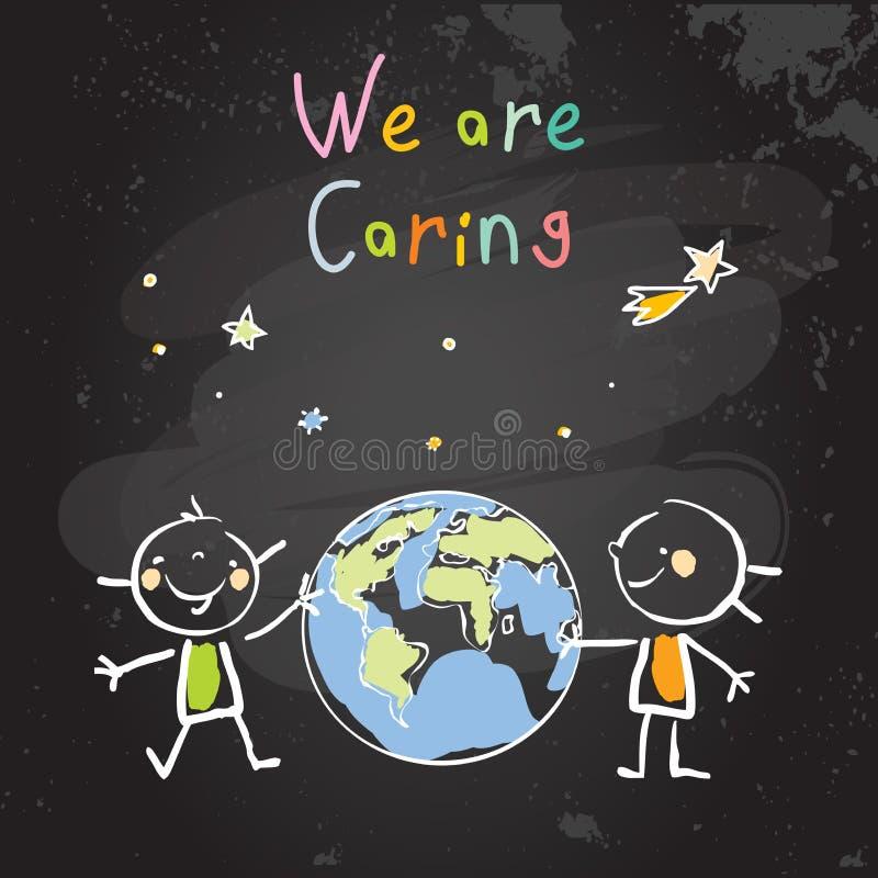 Προσοχή πλανητών παιδιών, γήινη ημέρα διανυσματική απεικόνιση