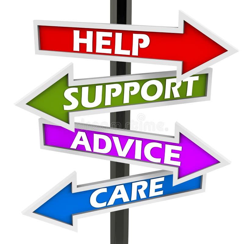 Προσοχή συμβουλών υποστήριξης οδηγιών απεικόνιση αποθεμάτων