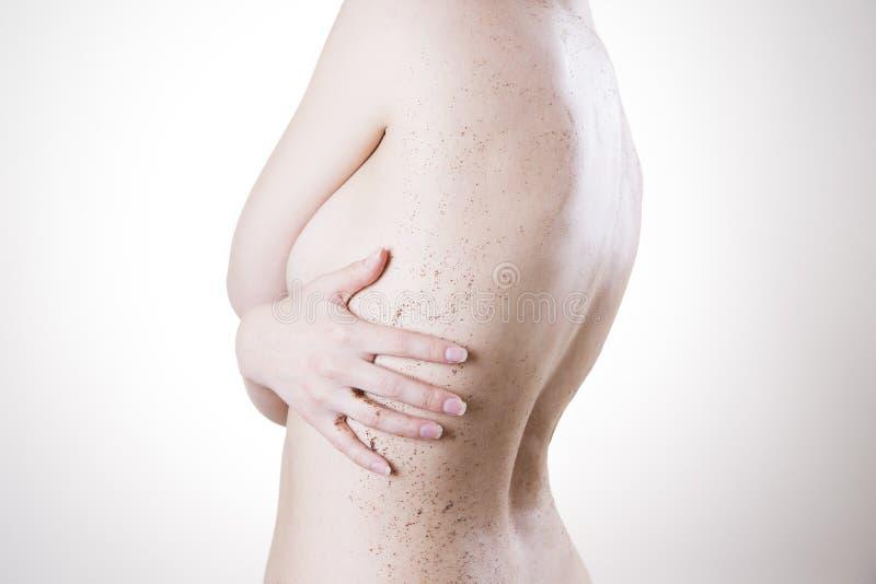 Προσοχή σώματος, πλάτη αποφλοίωσης δερμάτων στοκ φωτογραφίες
