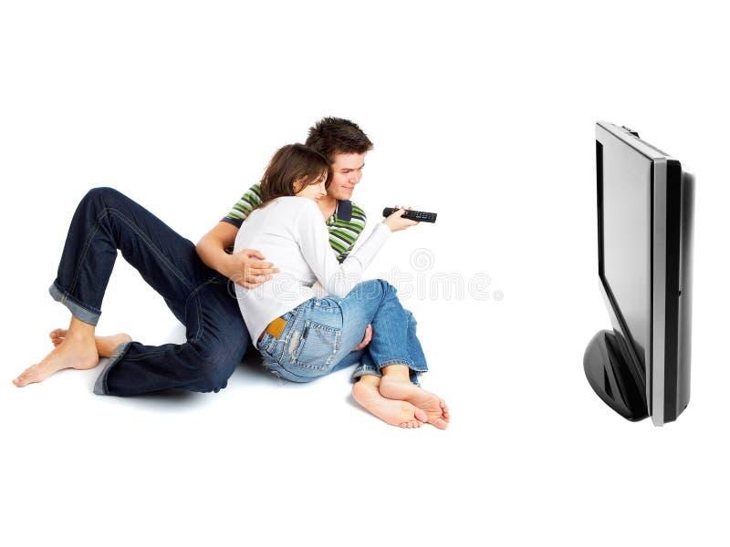 προσοχή TV ζευγών στοκ εικόνες με δικαίωμα ελεύθερης χρήσης