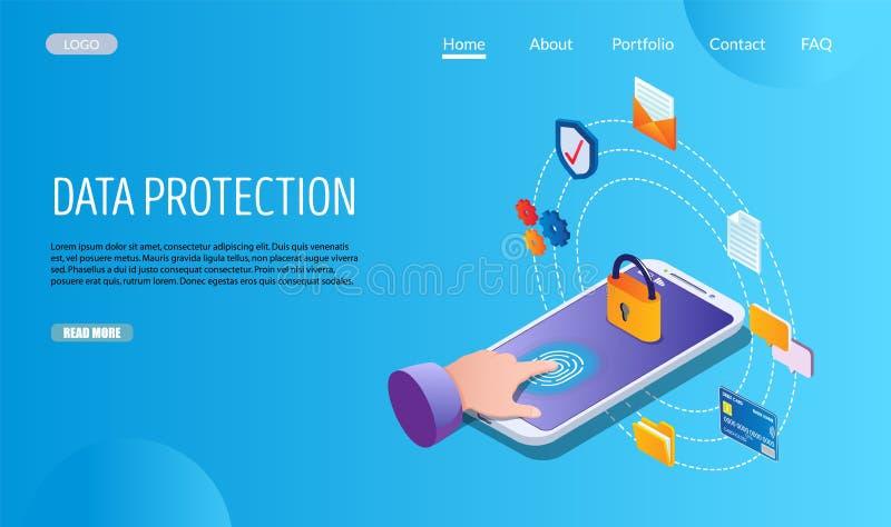 Προστασίας δεδομένων διανυσματικό πρότυπο σχεδίου σελίδων ιστοχώρου προσγειωμένος διανυσματική απεικόνιση