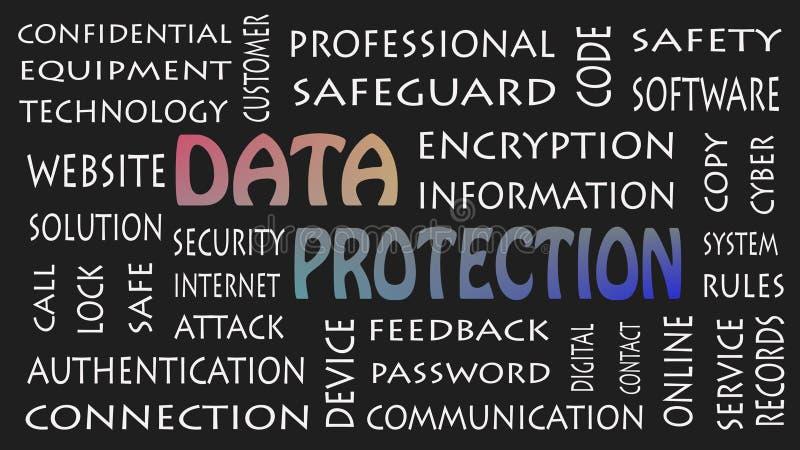 Προστασία δεδομένων, έννοια ιδιωτικότητας ασφάλειας στο Μαύρο υποβάθρου διανυσματική απεικόνιση