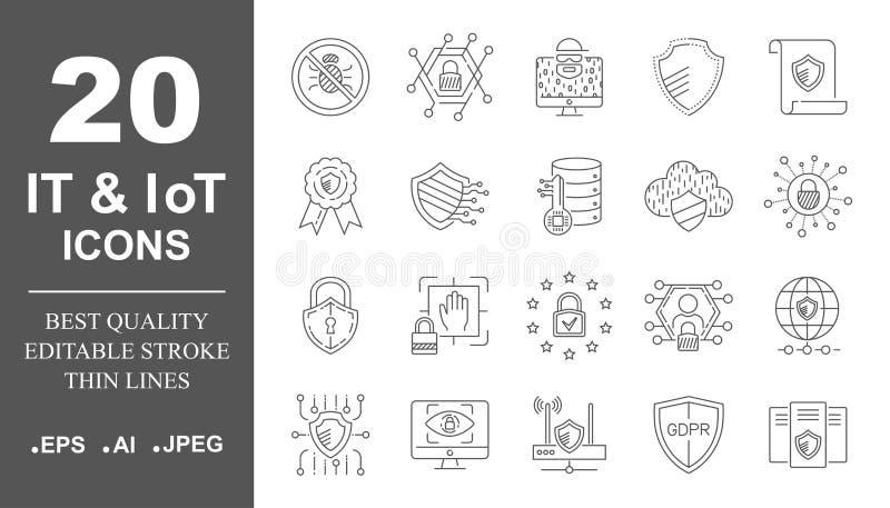 Προστασία δεδομένων, ΤΠ, IoT, εικονίδια ασφάλειας Διαδικτύου καθορισμένα o 10 eps απεικόνιση αποθεμάτων