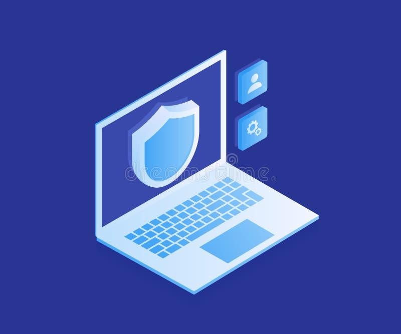 Προστασία δεδομένων υπολογιστών, lap-top με την ασπίδα, ασφάλεια στοιχείων Σύγχρονη διανυσματική απεικόνιση στο Isometric ύφος διανυσματική απεικόνιση