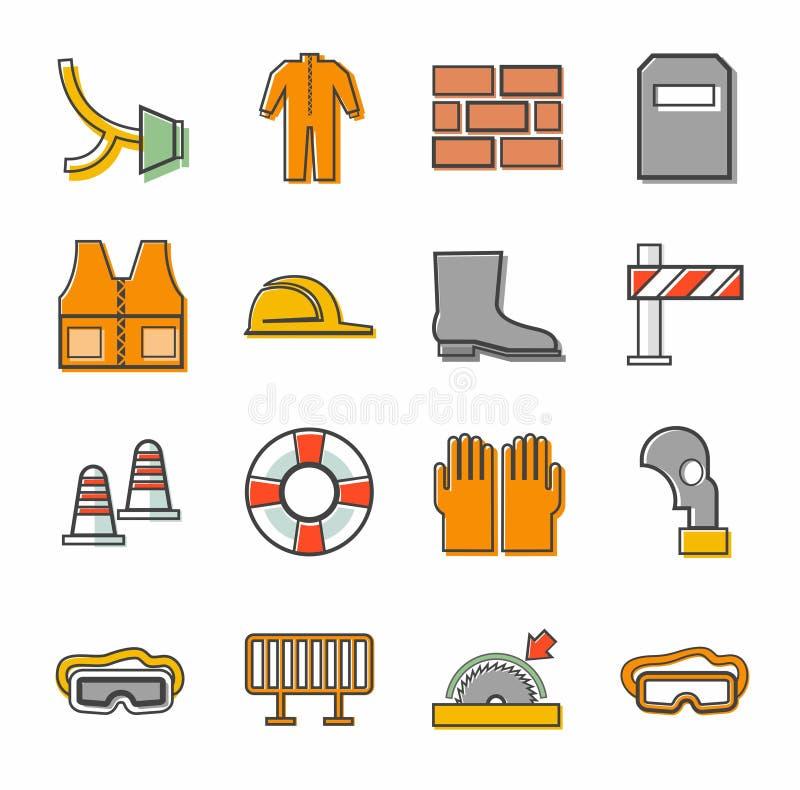 Προστασία εργασίας, εικονίδια περιγράμματος, που χρωματίζονται ελεύθερη απεικόνιση δικαιώματος