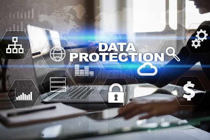 Προστασία δεδομένων, ασφάλεια Cyber, ασφάλεια πληροφοριών Επιχειρησιακή έννοια τεχνολογίας στοκ εικόνες